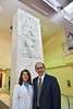 WVU School of Pharmacy Dean William Petros poses with his wife  WV Medicine Pharmacist Kathy Petros in the Pylons lobby HSC campus November 7, 2017. Photo Greg Ellis