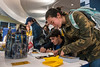"""Angela Hutchinson a Sports Exercise Psychology major writes a thank you note during the WVU """"Day of Giving"""" campaign in the Mountainlair November 8th, 2017.  Photo Brian Persinger"""