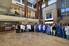 WVU Medicine Children's Hospital Doctors,  Nurses,  Flight Crew and support staff pose for a picture in the Ruby Hospital lobby November 20, 2017. Photo Greg Ellis