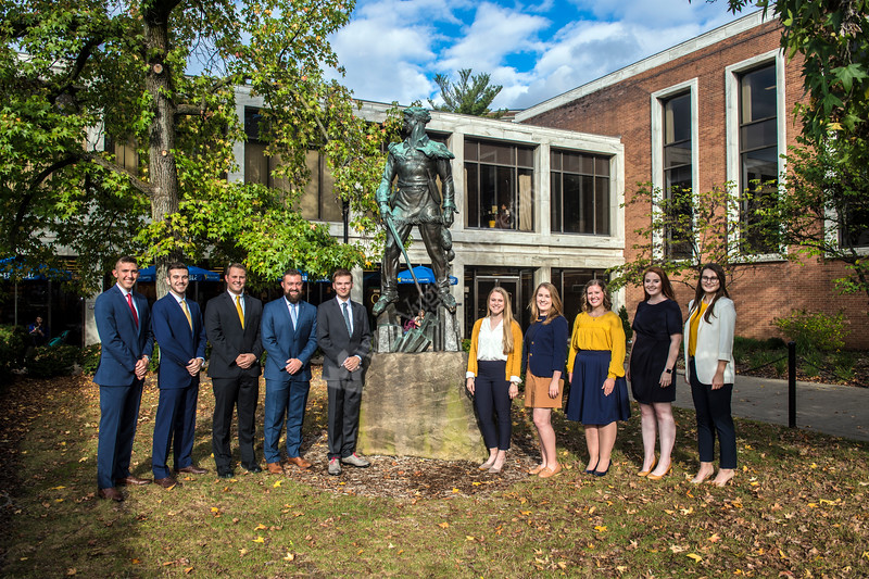 Candidates for the Mr. and Mrs. Mountaineer Contest pose for photographs by the Mountaineer Statue October 9th, 2017.  Photo Brian Persinger
