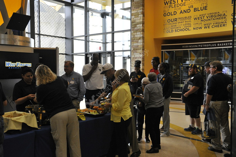The WVU Women's Basketball team invites fans to watch their practice as part of the Hoops in Heels event in the basketball practice facility October 21, 2017. The event includes watching the womens' team practice, hearing from coaches and dining with the team in a small lunch reception. Photo Caroline Nicholas
