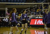 The WVU Mountaineer Volleyball Team takes on the Kansas State Wildcats October 21, 2017 in the WVU Coliseum in Morgantown, W. Va. WVU overcame the Wildcats 3 sets to 2 in a full five-set match.