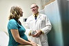 WVU Medicine physician  Dr. Leo Brancazio, OBGYN interacts with patient Nicole DeVallance September 8, 2017. Photo Greg Ellis