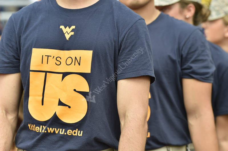 Members of the WVU Army ROTC wear It's On Us shirts in support of Title IX at the WVU v. Delaware State game Sept. 16, 2017 at Milan Puskar Stadium.