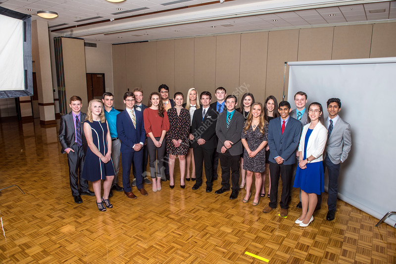 The 2018 Bucklew Scholars pose for photographs in the Mountainlair April 3rd, 2018.  Photo Brian Persinger