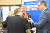 President E Gordon Gee interacts with perspective students', parents and alumni at  Olgbay Lodge Wheeling WV during a taping of Gee Mail April 17, 2018; Photo Greg Ellis