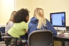 Tabitha Lowery GA , Teaching assistant  works with English students Colson Hall April 18, 2018. Photo Greg Ellis