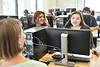 WVU Evansdale Library staff interact with and advises WVU students at the Evansdale Library April 27, 2018. Photo Greg