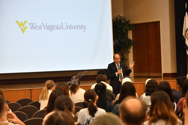 WVU's new International Students meet for the first time at the Mountain Lair International Student Orientation August 9, 2018. Photo Greg Ellis