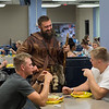 Mountaineer Trevor Keiss talks with incoming freshmen students during the Welcome Week Picnic at the Mountainlair on August 18, 2018.
