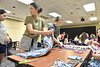 Students participate in Project Linus, a program creating blankets to serve sick and traumatized children in the Mountainlair August 12th, 2018.  Project Linus partnered with the Center for Service and Learning and is donating blankets made by the students to WVU Medicine Children's.  Photo Brian Persinger
