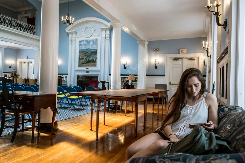 Ciminology and Psychology major Martina Walker waits for class to start in E. Moore Hall during the first day of class on the downtown campus August 15th, 2018.  Photo Brian Persinger