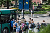 Students board a Mountainline Bus on the downtown campus of WVU during the first day of the Fall Semester August 15th, 2018.  Photo Brian Persinger