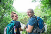 Student tour guide, left, and returning veteran student, right, look over the mountains from Coopers Rock on Saturday, August 25, 2018. Photo by Hunter Tankersley. The university sponsored event was held to celebrate their return to the campus.
