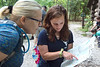 Student tour guide, right, shows a veteran student, left, the trail they will be hiking at Coopers Rock on August 25, 2018. Photo by Hunter Tankersley.