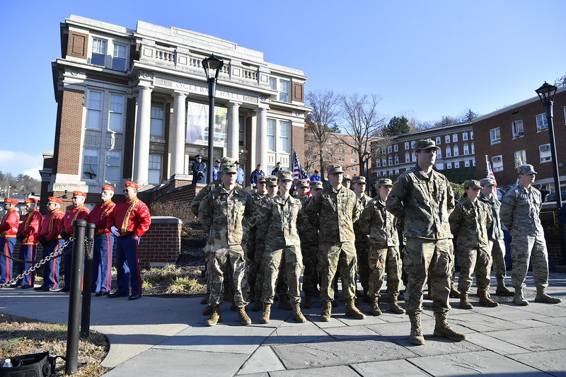 Current and retired military members of the WVU community come together for a Pearl Harbor Day Remembrance December 7, 2018. Photo Greg Ellis