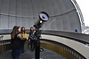 Teaching Assistant Professor Kathryn Williamson and students from Astronomy 107 learn basic principles of using the 14 inch telescope at White Hall February 9th, 2018.  Photo Brian Persinger