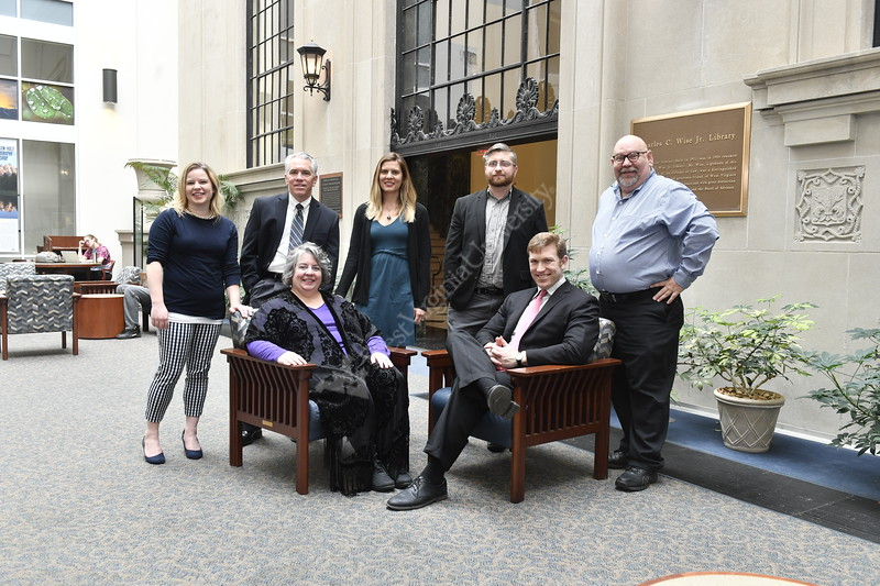 L2R - Elizabeth Cohen, Roger Carpenter, Beth Toren, Sara Anderson, Derek Johnson, Earl Glock and Jay Malarcher pose for photographs in the Wise Lbrary February 21st, 2018.  Photo Brian Persinger