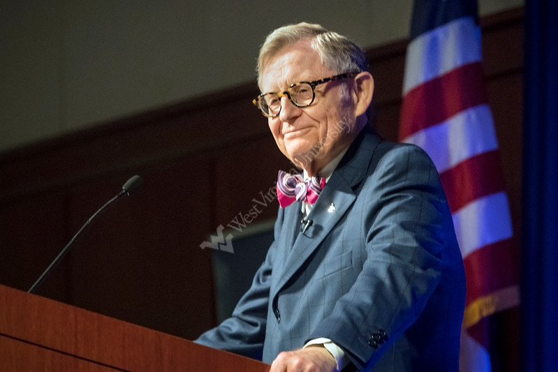 WVU President E. Gordon Gee address faculty, staff, students and the Morgantown community on WVU's leadership for 'purposeful change', at Erickson Alumni Center Janruary 27, 2018. Photo Greg Ellis