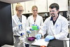 Travis Knuckles, assistant professor, WVU School of Public Health, Department of Occupational and Environmental Health Sciences works with (L to R) Allison Tolbert, undergraduate research assistant and public-health major  Haley Twilly, undergraduate research assistant and public-health major,  in his lab January 31, 2018. Photo Greg Ellis