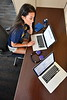 High school student at computer reviewing course options at WVU. July 20, 2018. Photo Greg Ellis
