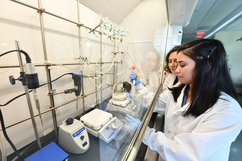 Jasmine Grossman, a senior biomedical engineering major and Honors College student<br /> Dr. Margaret Bennewitz, assistant professor, Department of Chemical and Biomedical Engineering explore new ways to diagnose breast cancer using nanoparticles in the Advanced Engineering Research Building July 24th, 2018.  Photo Brian Persinger