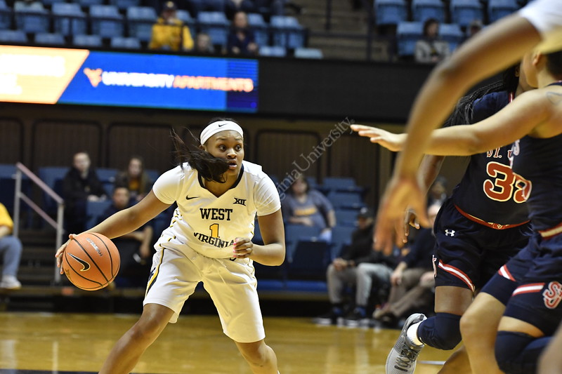 The Womens Basketball team hosts St. Johns for the Quarterfinals of the Women's NIT in the Coliseum March 25th, 2018.  Photo Brian Persinger