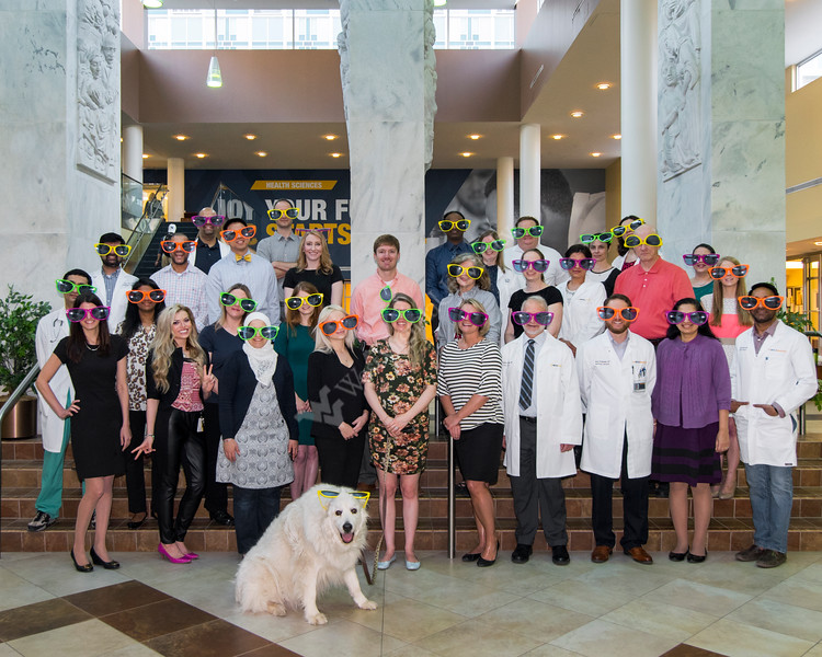 Hematology Oncology Doctors Fellows and Staff pose for group pics in front of the HSC Pylons May 5, 2018. Photo Greg Ellis
