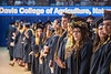 Chelsea Glover waves to friends during the Davis College of Agriculture, Natural Resrouces and Design Commencement in the Coliseum May 11th, 2018.  Photo Brian Persinger