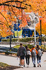 Prospective students walk through campus on a perfect fall day.