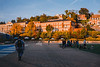 Students on the Mountain Lair green during a fall evening.