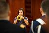 WVU music student Hannah Aberegg plays taps at the  Veterans Appreciation Breakfast Erickson alumni Center November 9,2018. Photo Greg Ellis