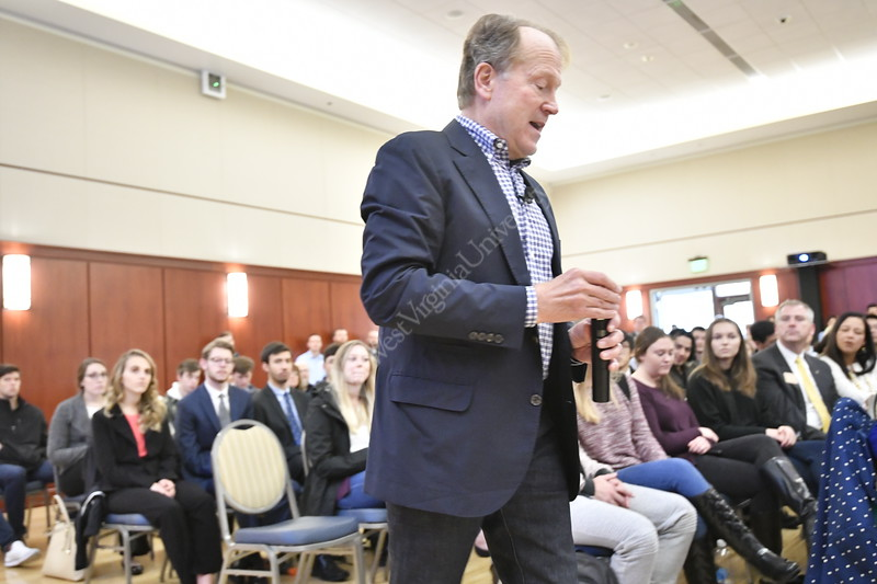 Former Cisco CEO and Chairman John Chambers addresses the WVU community at the Erickson Alumni Center pledging to to help WVU support start-ups and entrepreneurships. The WVU business school has been  renamed John Chambers College of Business and Economics. November 9, 2018. Photo Greg Ellis