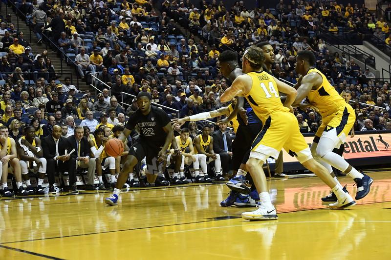 WVU Men's Basketball team action vs Buffalo November 9, 2018. Photo Greg Ellis