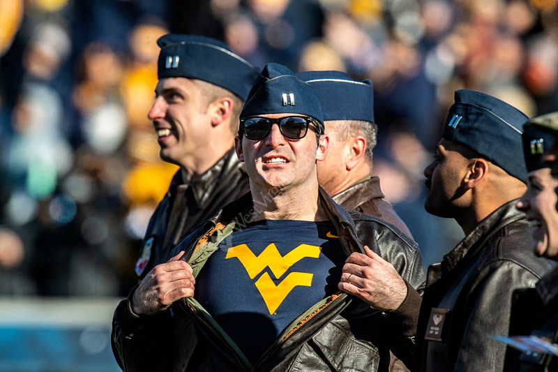 Air Force pilots react and celebrate during a recognition following their flyover of Mountaineer Field November 10th, 2018.  Photo Brian Persinger