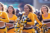 The Gold cheerleading squad leads the Mountaineers onto the field prior to kickoff during the game versus TCU November 10th, 2018.  Photo Brian Persinger