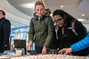 """Management majors Harlee Blake and Annapoorna Jasti write thank you notes during the second annual, """"Day of Giving"""" event in the Mountainlair November 14th, 2018.  Photo Brian Persinger"""