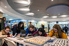 """Hannah Delval an accounting major, Shawn Gray a psychology major, Abigail Shaw and strategic communications major, Haley Wents a strategic communications major and madison wingate a strategic communications major write thank you notes during the second annual, """"Day of Giving"""" event in the Mountainlair November 14th, 2018.  Photo Brian PErsinger"""