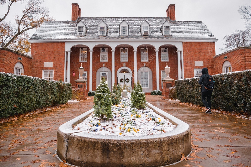 E. Moore Hall gets a light dusting of snow.
