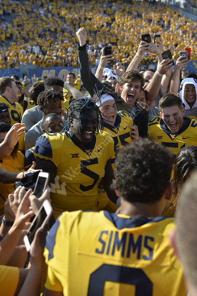 WVU faced off against Kansas at homecoming on October 6, 2018. The Mountaineers won the game 38-22.