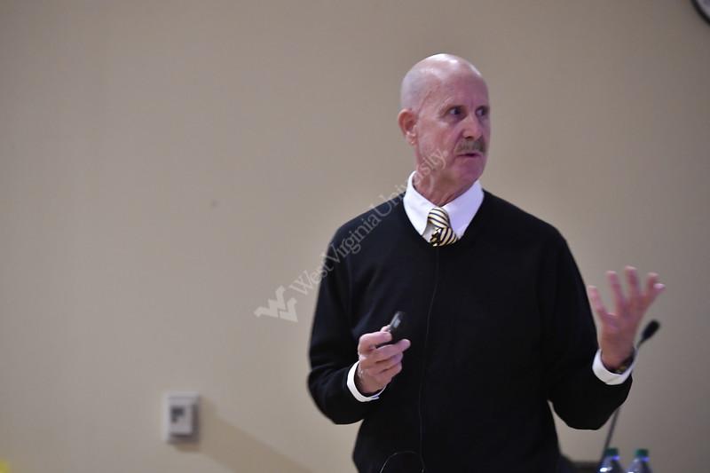 Dr. John Howard, Director of NIOSH speaks during the School of Public Health's Dean's Colloquium in the Health Sciences Center October, 15th, 2018.  Photo Brian Persinger