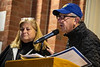 Lifelong Tree of Life Synagogue of Pittsburgh members Judy and Robert Danenburg speak to a crowd of staff, students, faculty and community members of Morgantown at Woodburn Circle Oct 29th, 2018.  Photo Brian Persinger