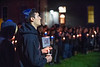 Brandon Aepi, an Exercise Physiology major listens to speakers during a vigil following a shooting at the Tree of Life Synagogue in Pittsburgh October 29th, 2018.  Photo Brian Persinger