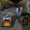Members of Jason Gross's WVU Navigation Lab conduct research at the WV Memorial Tunnel Complex.<br /> 35051 WVU Mag Robots and Drones<br /> WVU Photo/ Raymond Thompson<br /> WVU Magazine