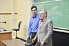 WVU President E. Gordon Gee Surprise students and professors with a classroom visit. The professors were  awarded an Outstanding Teaching Award last year. September 6, 2018. Photo Greg Ellis