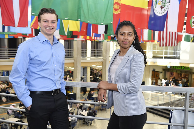 Critical Language Scholars Taima Ross and Keanan Allen pose for photographs at the Mountainlair, April 1st, 2019.  Photo Brian Persinger