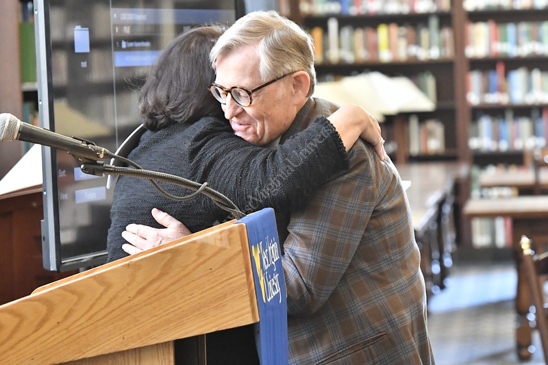 WVU leadership, faculty and former Fulbright Students gather at the Wise Library in the Milano Reading Room to hear Hank Barnette thoughts and experiences as WVU's first Fulbright Scholar. April 1, 2019. Photo Greg Ellis