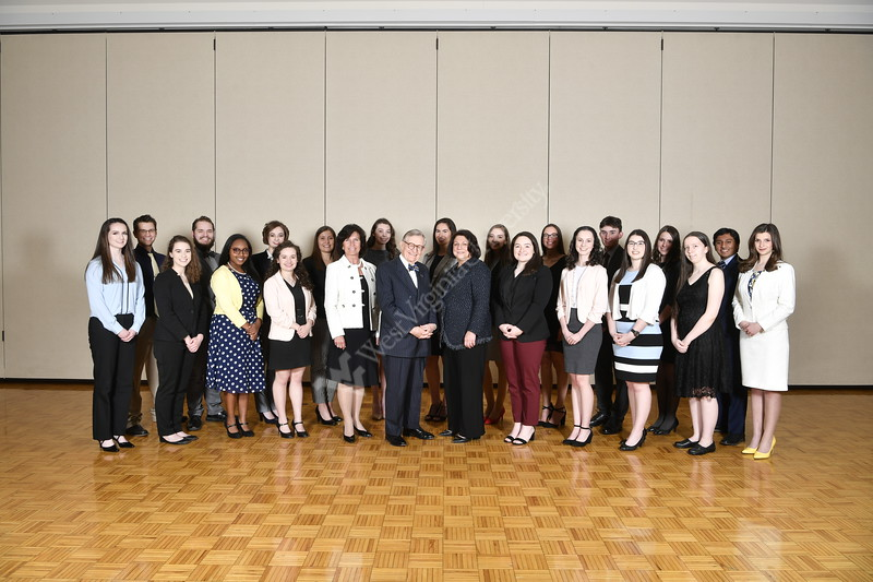 Bucklew Scholars and WVU Foundation candidates pose for a group picture at the Mountain Lair April 3, 2019. Photo Greg Ellis