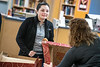 Members of the Office of the Provost and the Division of University Relations offer coffee and donuts to Autumn Ortiz, a Child Development and Family Studies major at the Evansdale Library during a day long campus wide Research Celebration Friday April 5th, 2019. Photo Brian Persinger