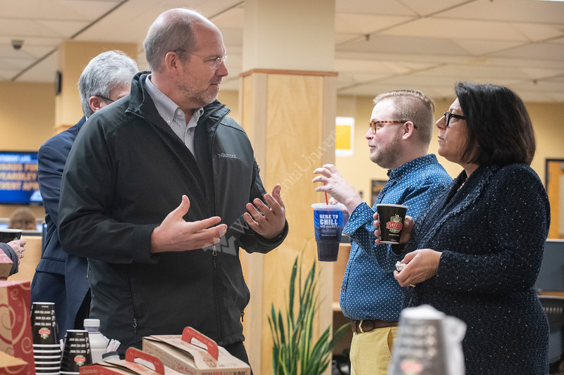 Professor and Director of Institute for Water Security and Science Jason Hubbart talks with Provost Joyce McConnell at the Evansdale Library during the campus wide Research Celebration Friday April 5th, 2019.  Photo Brian Persinger